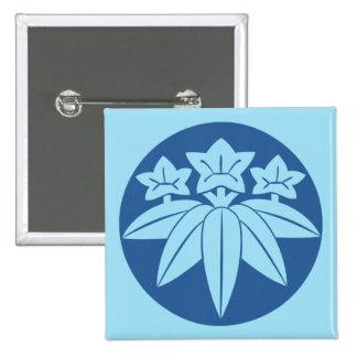 Clan japonés de Kamakura Minamoto lunes en azul Pin Cuadrada 5 Cm