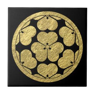 Clan japonés del samurai de Chosokabe lunes Azulejo Cuadrado Pequeño