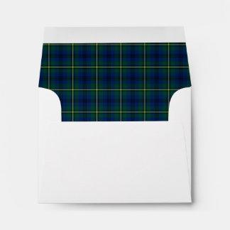 Clan Johnston Tartan Green and Royal Blue Plaid Envelope