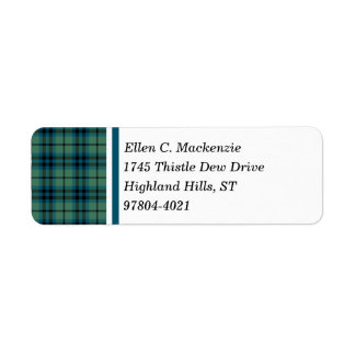 Clan Keith Green and Blue Ancient Scottish Tartan Label