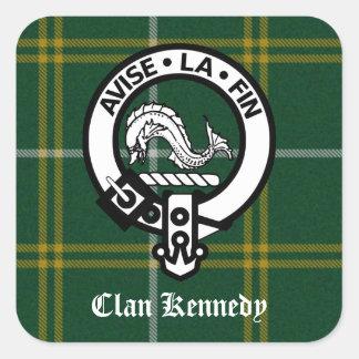 Clan Kennedy Crest Tartan Square Sticker