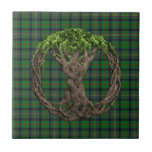 Clan Kennedy Tartan And Celtic Tree Of Life Small Square Tile