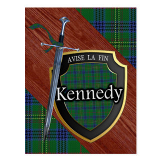 Clan Kennedy Tartan Sword & Shield Postcard