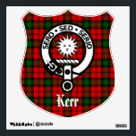 """Clan Kerr Crest and Tartan Wall Decal<br><div class=""""desc"""">Scottish Clan Kerr crest badge and tartan graphics on shield shaped wall decal</div>"""