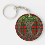 Clan Kerr Tartan And Celtic Tree Of Life Double-Sided Round Acrylic Keychain