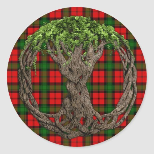 Clan Kerr Tartan And Celtic Tree Of Life Sticker