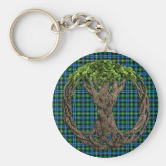 Clan Lamont Tartan And Celtic Tree Of Life Basic Round Button Keychain