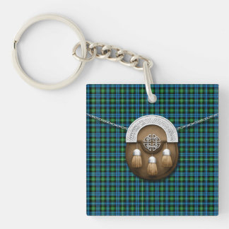 Clan Lamont Tartan And Sporran Double-Sided Square Acrylic Keychain