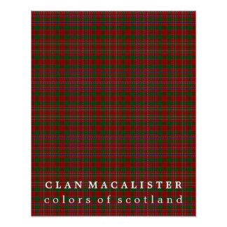 Clan MacAlister Colors of Scotland Tartan Poster