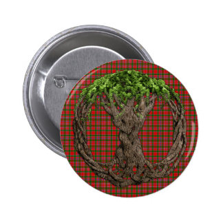 Clan MacAlister Tartan And Celtic Tree Of Life Pinback Button
