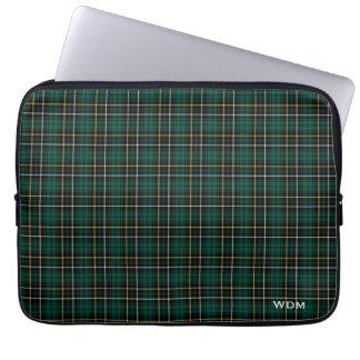 Clan MacAlpine Tartan Dark Green Plaid Monogrammed Computer Sleeve