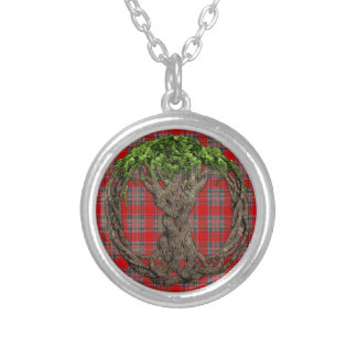 Clan MacBean Tartan And Celtic Tree Of Life Round Pendant Necklace