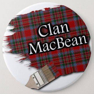 Clan MacBean Tartan Paint Brush Pinback Button