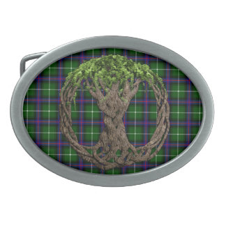 Clan MacDonald of the Isles Tartan And Celtic Tree Belt Buckle