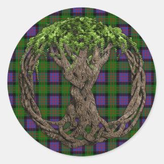 Clan MacDonald of the Isles Tartan And Celtic Tree Classic Round Sticker
