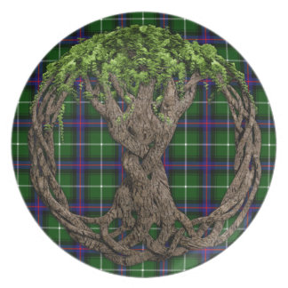 Clan MacDonald of the Isles Tartan And Celtic Tree Dinner Plate
