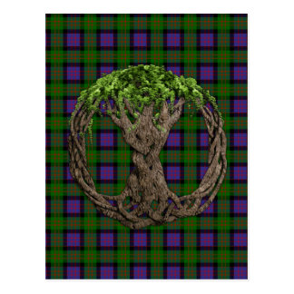 Clan MacDonald of the Isles Tartan And Celtic Tree Postcard