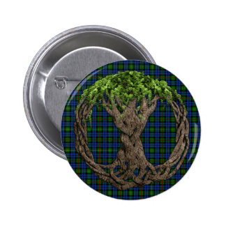 Clan MacEwan Tartan And Celtic Tree Of Life Button
