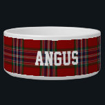 "Clan MacFarlane Custom Tartan Plaid Pet Bowl<br><div class=""desc"">Traditional regency red,  blue,  green clan MacFarlane tartan plaid around this white ceramic dog bowl.  Custom white text is ready to personalize with your pet&#39;s name.  Makes a great gift idea to a new dog owner.</div>"