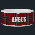 """Clan MacFarlane Custom Tartan Plaid Pet Bowl<br><div class=""""desc"""">Traditional regency red,  blue,  green clan MacFarlane tartan plaid around this white ceramic dog bowl.  Custom white text is ready to personalize with your pet&#39;s name.  Makes a great gift idea to a new dog owner.</div>"""