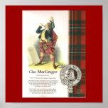 Clan MacGregor de la tela escocesa en lona Póster