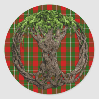 Clan MacGregor Tartan And Celtic Tree Of Life Classic Round Sticker