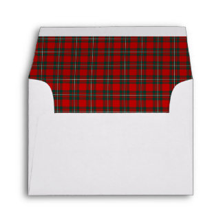 Clan MacGregor Tartan Red and Forest Green Plaid Envelope