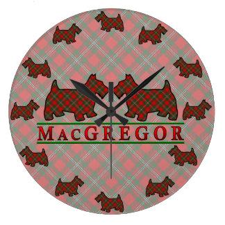 Clan MacGregor Tartan Scottie Dogs Clock