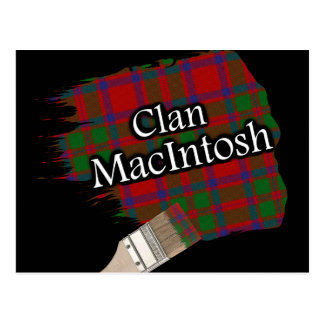 Clan MacIntosh Scottish Tartan Paint Brush Postcard