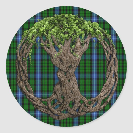 Clan MacIntyre Tartan And Celtic Tree Of Life Classic Round Sticker