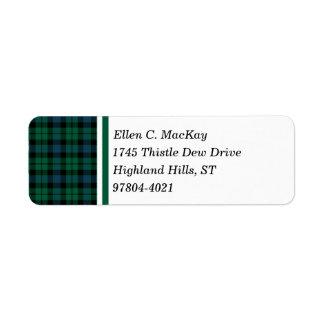 Clan MacKay Green and Blue Scottish Tartan Label