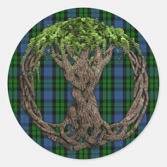 Clan MacKay Tartan And Celtic Tree Of Life Classic Round Sticker