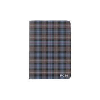 Clan Mackenzie Brown and Blue Tartan Monogram Passport Holder