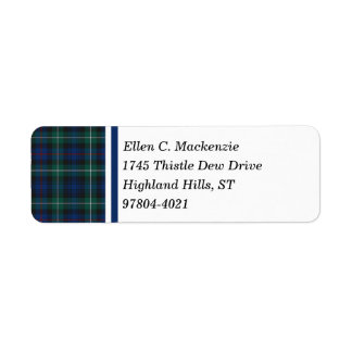 Clan Mackenzie Dark Blue and Green Scottish Tartan Label