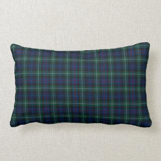 Clan Mackenzie Tartan Dark Blue and Green Plaid Lumbar Pillow