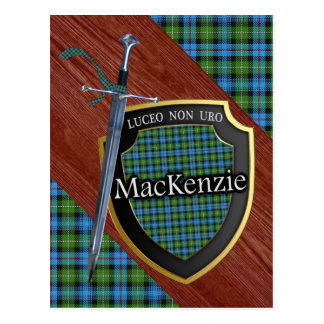 Clan MacKenzie Tartan Sword & Shield Postcard