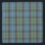 "Clan MacKirdy Tartan Plaid Stone Coaster<br><div class=""desc"">Rustic stone coaster with graphics of the classic blue,  green,  black,  and white Scottish Clan MacKirdy tartan plaid pattern.  Customize to add text to this great looking coaster.</div>"