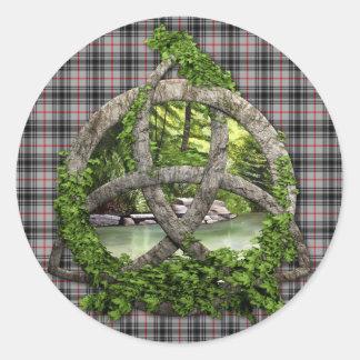 Clan MacKnight Tartan Celtic Trinity Classic Round Sticker