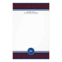 Clan MacLachlan Tartan Red and Blue Plaid Monogram Stationery