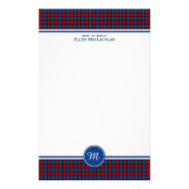 Clan MacLachlan Tartan Red and Blue Plaid Monogram Stationery