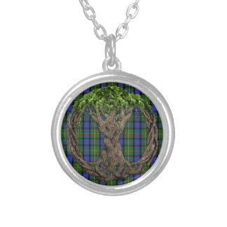 Clan MacLaren Tartan And Celtic Tree Of Life Round Pendant Necklace