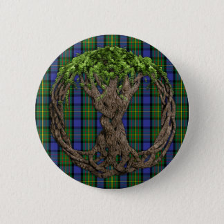 Clan MacLaren Tartan And Celtic Tree Of Life Pinback Button