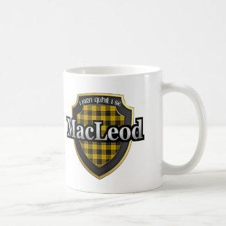 Clan MacLeod del tartán escocés de la dinastía de Taza Básica Blanca