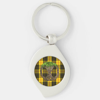 Clan MacLeod Tartan And Celtic Tree Of Life Silver-Colored Swirl Metal Keychain