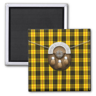 Clan MacLeod Tartan And Sporran 2 Inch Square Magnet