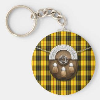 Clan MacLeod Tartan And Sporran Basic Round Button Keychain