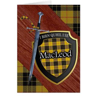 Clan MacLeod Tartan Scottish Shield & Sword Card