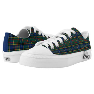 Clan MacMillan Tartan Blue and Green Plaid Canvas Printed Shoes