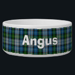 "Clan MacNeil Custom Tartan Plaid Pet Bowl<br><div class=""desc"">Traditional blue,  green,  gray,  black,  yellow clan MacNeil tartan plaid,  around this white ceramic dog bowl.  Custom white text is ready to personalize with your pet&#39;s name.  Makes a great gift idea to a new dog owner.</div>"