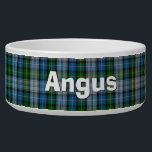"Clan MacNeil Custom Tartan Plaid Pet Bowl<br><div class=""desc"">Traditional blue,  green,  gray,  black,  yellow clan MacNeil tartan plaid,  around this white ceramic dog bowl.  Custom white text is ready to personalize with your pet's name.  Makes a great gift idea to a new dog owner.</div>"